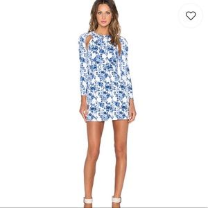 Lavish Alice Floral Blue Mini Dress long Sleeve